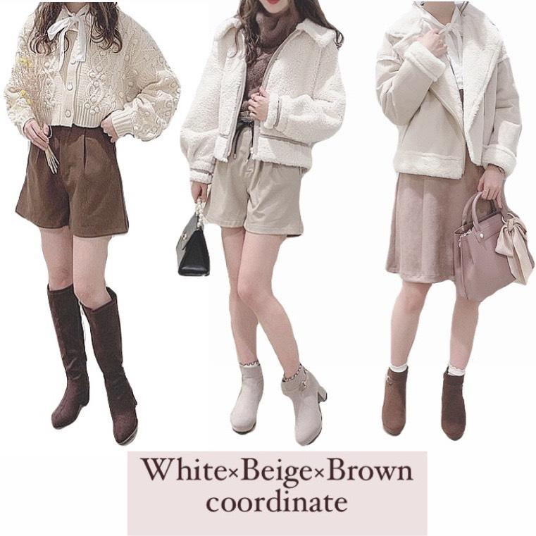 white×beige×brown coordinate𓂃 𓈒𓏸